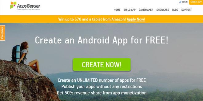 AppsGeyser website untuk membuat aplikasi android gratis
