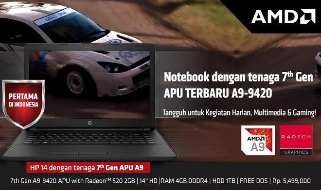 Harga Jual Laptop Gaming HP 14-bw001AX APU A9