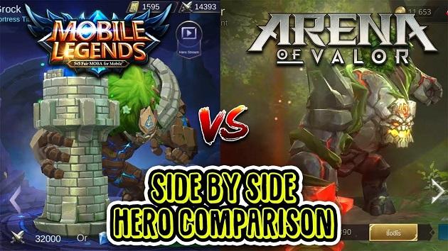 Hero Arena of Valor vs Mobile Legend