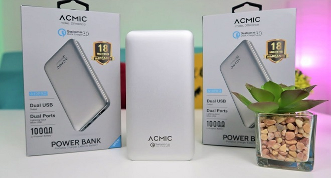 Power Bank Quick Charge 3.0 Terbaik ACMIC A10PRO 10000mAh